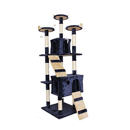 キャットタワー 185cm 猫タワー ダニ防止加工済 隠れ家付き スロープ階段付き (ダークブルー)