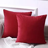 Madizz Extra Soft Velvet Throw Pillow Covers Cushion Case 18x18 inch Set of 2 Pack Decorative for Bed Kids' Room Living Room Office Hotel Dorm Couch Bed Solid