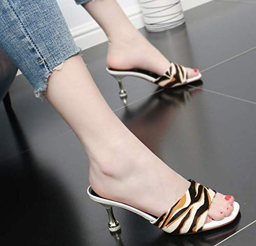 Summer Sandals Elegant High GTVERNH shoes Trailer Semi Heel women's Comfortable Lady Thin Fashion Head Square 7Cm Slippers Black Temperament tqqwz0Ia