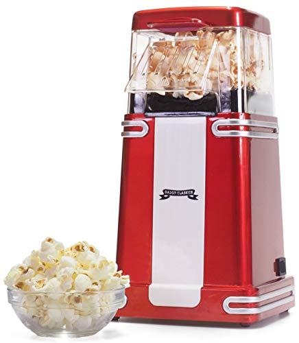 Gadgy ® Popcorn Machine | Retro Macchina Pop Corn Compatta | Aria Calda Senza Olio Grasso l Edizione Rossa Retrò 1