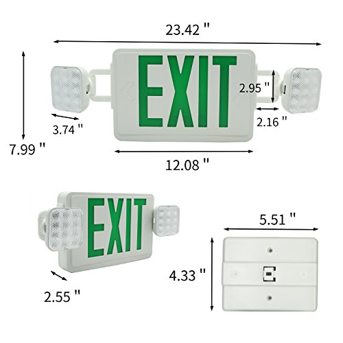 Ainfox 6 Pack LED Exit Sign Emergency Wall Light, Back -up Letter Cover (green/6pack) by Ainfox (Image #2)