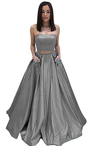 Bbcbridal Womens Strapless Beaded Evening Dress Satin Long Prom