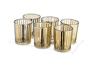 Christmas Tablescape Decor - Beautiful gold stripe laser cut mercury glass votive/tealight candle holder - Set of 6