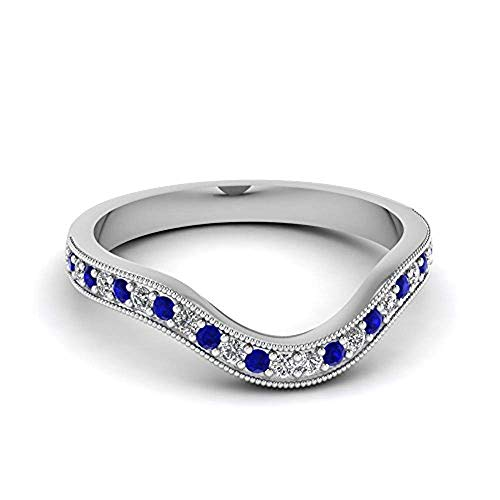 tusakha Women's Milgrain Pave Curved CZ Diamond Wedding Band with Blue Sapphire 14K White Gold Plated (10)