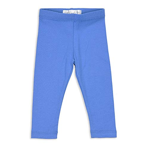 Cornflower Blue Natural - fi+fi Unisex Baby and Toddler Cotton Leggings, for Boys and Girls, Available in 13 Solid Colors (Cornflower Blue, 9M)