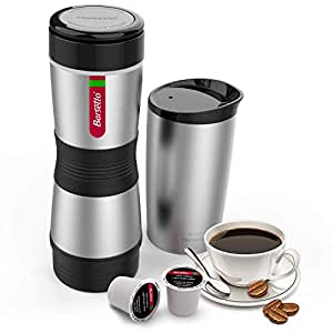Barsetto Portable Coffee Maker, Compatible K-Cup and Ground Coffee, Fast Extraction System Coffee Machine with Stainless Steel Insulation Cup for Travel Hiking and Picnic