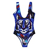 Lmx+3f Women's Floral Print Tube One Piece High Waist Swimsuit Swimwear Bodysuits Bikini Solid Soft Comfy Swimwear Blue