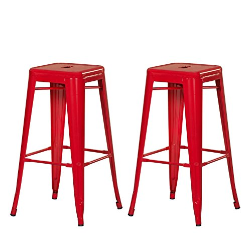 Adeco Stackable Glossy Metal Barstool product image