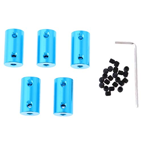 Fenteer 5X RC Car Ship Plane Spare Parts Motor Shaft Coupling Coupler Connector w/ M4 Screw 4mm to 5mm ()