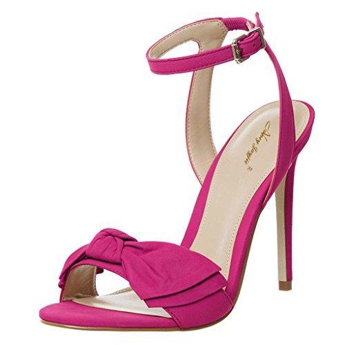 Talloni Posteriore Sandalo Nj Fuchsia Pattini Di Pompe Vestito Con Archi Delle Cinturino Tacco Alla Alti Caviglia Donne 4q5w15
