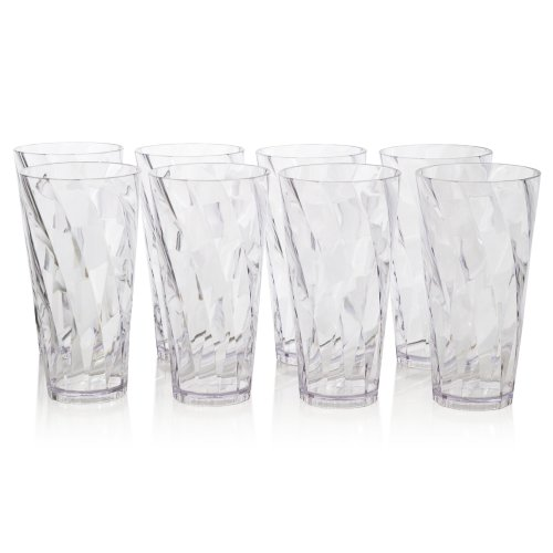 Optix Premium Quality Plastic 20oz Water Cup Tumblers | Set of 8 Clear | (Plastic Cup Set)