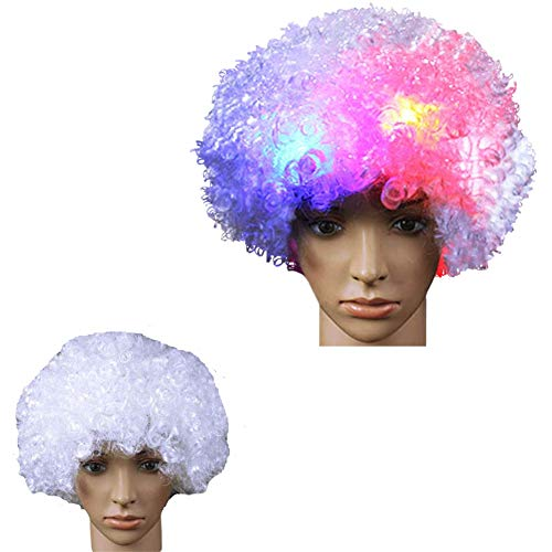 LACGO LED Flash Explosion Wig - Clown Wig, Beautiful Afro Wig, Fancy Dress Parties Wig, Cosplay Wig ,Men & Women 's Hair Wig LED Flash Explosion Hair Heat Resistant for Cosplay(White)(Pack of 1)]()