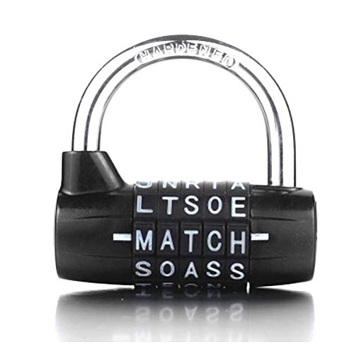 5-Dial Combination Padlock, Black 5 Letters Lock Code Lock Large Gym Cabinet Locker Room Prop Padlock Wordlock PL-004-BK 5-Dial Combination Padlock, Black (5 Letter Word For Best)