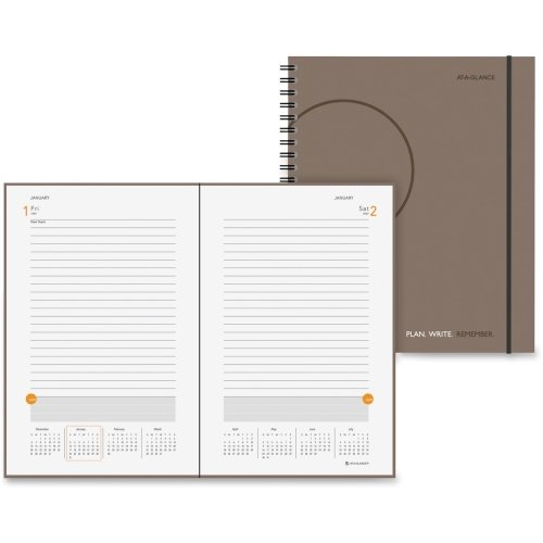 At-A-Glance 70620930 Plan. Write. Remember. Notebook with Reference Calendar 9 3/16 x 11 Gray