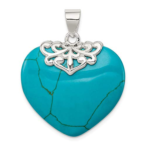 925 Sterling Silver Blue Turquoise Heart Stone Pendant Charm Necklace Love Ful Fine Jewelry Gifts For Women For Her ()