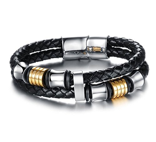 Feraco Vintage Leather Bracelet Stainless