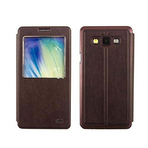 Samsung Galaxy A7 Case,Qcute Fashion Classy [Scratch Resistant] Rugged Durable Full Body Protection Smart Window View Front Flip Leather Stand Skin Case Cover for Samsung Galaxy A7 (Dark Brown)