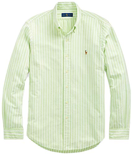 Ralph Lauren Men Solid Sport Oxford Shirt (XXL, AvocadoStrip) (Mens Ralph Shirts Lauren Dress)