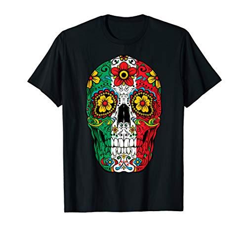 Day Of The Dead Sugar Skull Cinco de Mayo Women Mexican Flag ()