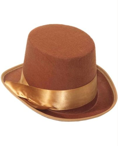 Topper Hats (Steampunk Brown Tan Bell Hop Topper Victorian Willy Wonka Costume Top Hat)