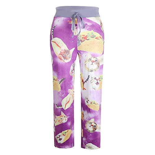 Eaktool Casual Pajama Pant,Women's Summer Printed Comfortable Casual Beach Pajama Pants Sport Yoga Trousers Purple