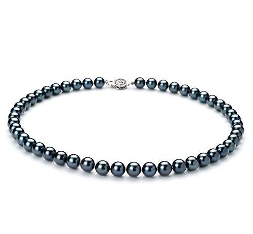 Noir 7.5-8mm AAA-qualité Akoya du Japon 925/1000 Argent-Collier de perles