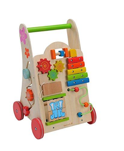 Lx Double Stroller (EverEarth Activity Walker. Toddler Learn-to-Walk Cart, Shape Sorter, Bead Maze, Xylophone & Gears)
