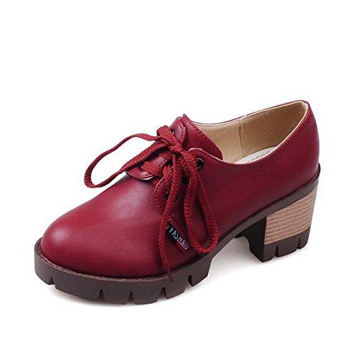 À Matière Femme Couleur Rouge Légeres Rond Correct Chaussures Lacet Unie Souple  Talon Agoolar ERnq4q f8866ccdd59