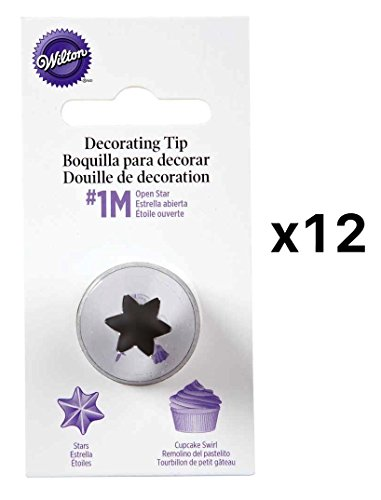 Wilton Open Star Tip #1M Icing Decorating Nickel Plated Brass L Coupler(12-Pack)