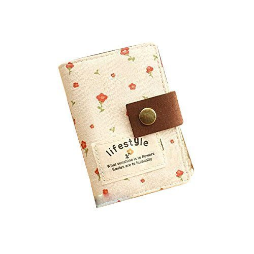Hurricanes 20 Pockets Retro Portable Canvas Floral Girly Name Business Credit Card Holder Instant Pictures Photo Album for Polaroid Fujifilm Instax Mini 70 7S 8 25 50S 90 Films - Beige