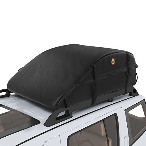 COOCHEER 15 Cubic Feet Waterproof Car Top Carrier- Roof Cargo Bag Box Easy to Install Soft Rooftop Luggage Carriers with Wide Straps, Best for Traveling, Cars, Vans, SUVs (16.7 Cubic Feet, Black)