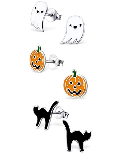 - ICYROSE 925 Sterling Silver Set of 3 Pairs Halloween Set Ghost, Orange Pumpkin Jack-O-Lantern , Black Cat Stud Earrings for Girls (Nickel Free) 20509