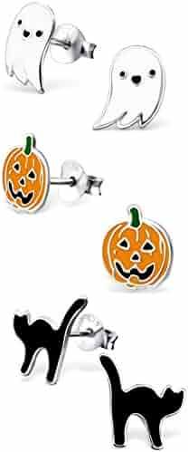 925 Sterling Silver Hypoallergenic Set of 3 Pairs Halloween Set Ghost, Orange Pumpkin Jack-O-Lantern , Black Cat Stud Earrings for Girls and Womens (Nickel Free) 20509