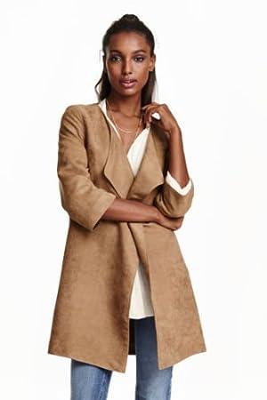 H & M Blogger ante antelina abierto abrigo corto 3/4 de pulsera Marrón Talla