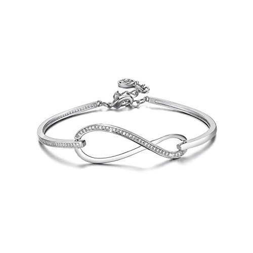 Plated Gold White Charm (SPILOVE CZ Crystal 18k White Gold Plated Infinity Bangle Endless Love Charm Adjustable Bracelets, Gifts for Graduation)