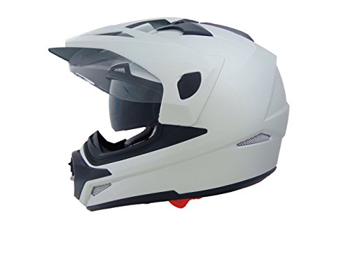 Stealth Cross Tour Dual Sport Helmet (Pearl White, Large) by Stealth Helmets