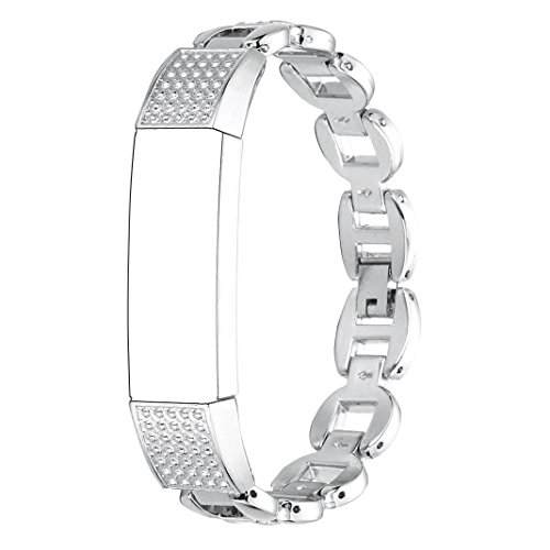 For Fitbit Alta Bands Diamond, Rosa Schleife Fitbit Stainless Steel Band Replacement Accessories Band Wrist Strap Chain Link Bracelet Jewelry Band Fitness Watch for Fitbit Alta ()