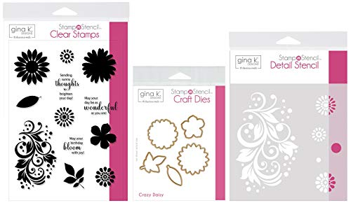 (Gina K Designs Stamp n Stencil - Crazy Daisy - Clear Stamps, Steel Dies, Detail Stencil and Stamp Storage)