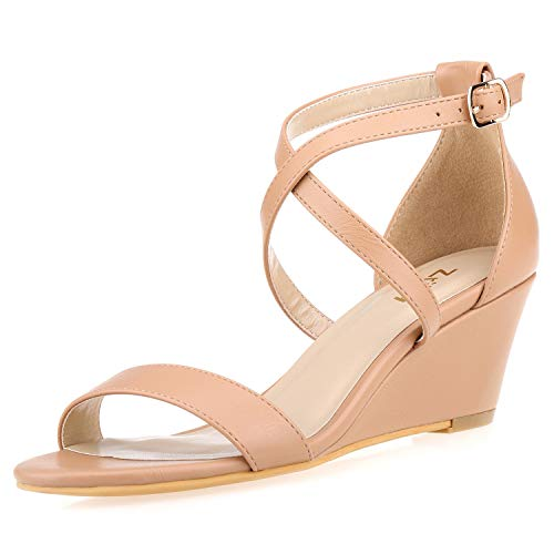 ZriEy Women's 2 Inch Mid Wedge Platform Sandals Ankle Strap Buckle Heeled Sandals Nude Size 6