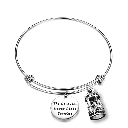 WUSUANED The Carousel Never Stops Turning Horse Carousel Charm Bangle Bracelet Inspirational Jewelry Gift (Carousel Never Stops)