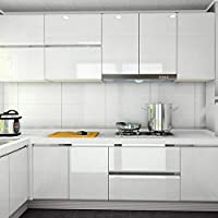 Homeme Marble Contact Paper, 300 x 60cm Self-Adhesive Wallpaper Decorative Removable Wallpaper with PVC Waterproof Oil-proof for Kitchen Countertop Cabinet Furniture-Pearl White