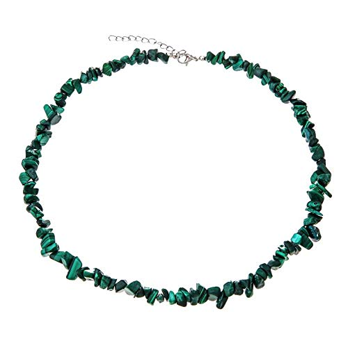 TURTLEDOVE Raw Gemstone Necklace Natural - Elegant Choker Necklace for Women - Raw Malachite Necklace (Malachite Necklace)