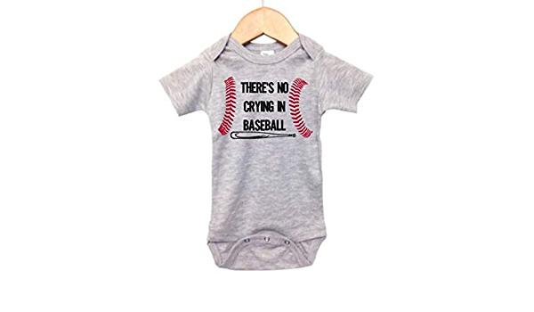 Cute INFANT Wear PLAYER ROMPER THERE/'S NO CRYING IN BASEBALL Baby BODYSUIT