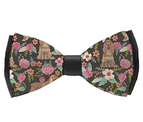 UNIQUEISME Men's Luxury Formal PU Bowtie Elegant Adjustable Bow Ties For Men - Cocker Spaniel