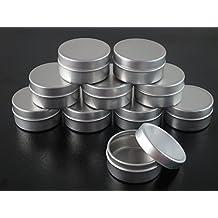 20pcs 10ml Empty Cosmetic Pots Lip Balm Container Jar Silver Aluminum Tins (CM0115 x 20)