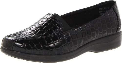 Croco Patent Shoes (Easy Street Women's Gage Flat,Black Patent Croco,6 M US)