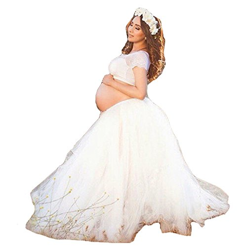 YUNF Maternity Photography Props White Long Lace Skirt for Pregnancy Shoot (FREE)