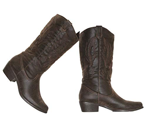 MVE Shoes Women's Modern Western Cowboy Distressed Boot with Pull-Up Tabs Cowgirl 11 Brown 5.5 ()