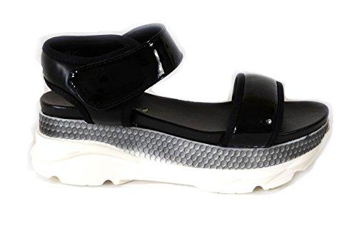 Pantofole Toe Sandali 5 Da Peep Sliders Spiaggia 82138 Estate Womens Vacanza Chunky Ladies Scarpe Black IRFwBz