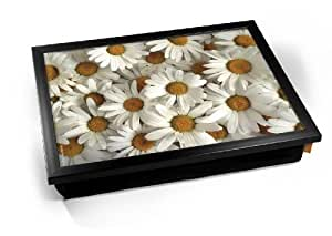 White Daisy Daisies Flowers Cushion Lap Tray Cojín Bandeja de Regazo
